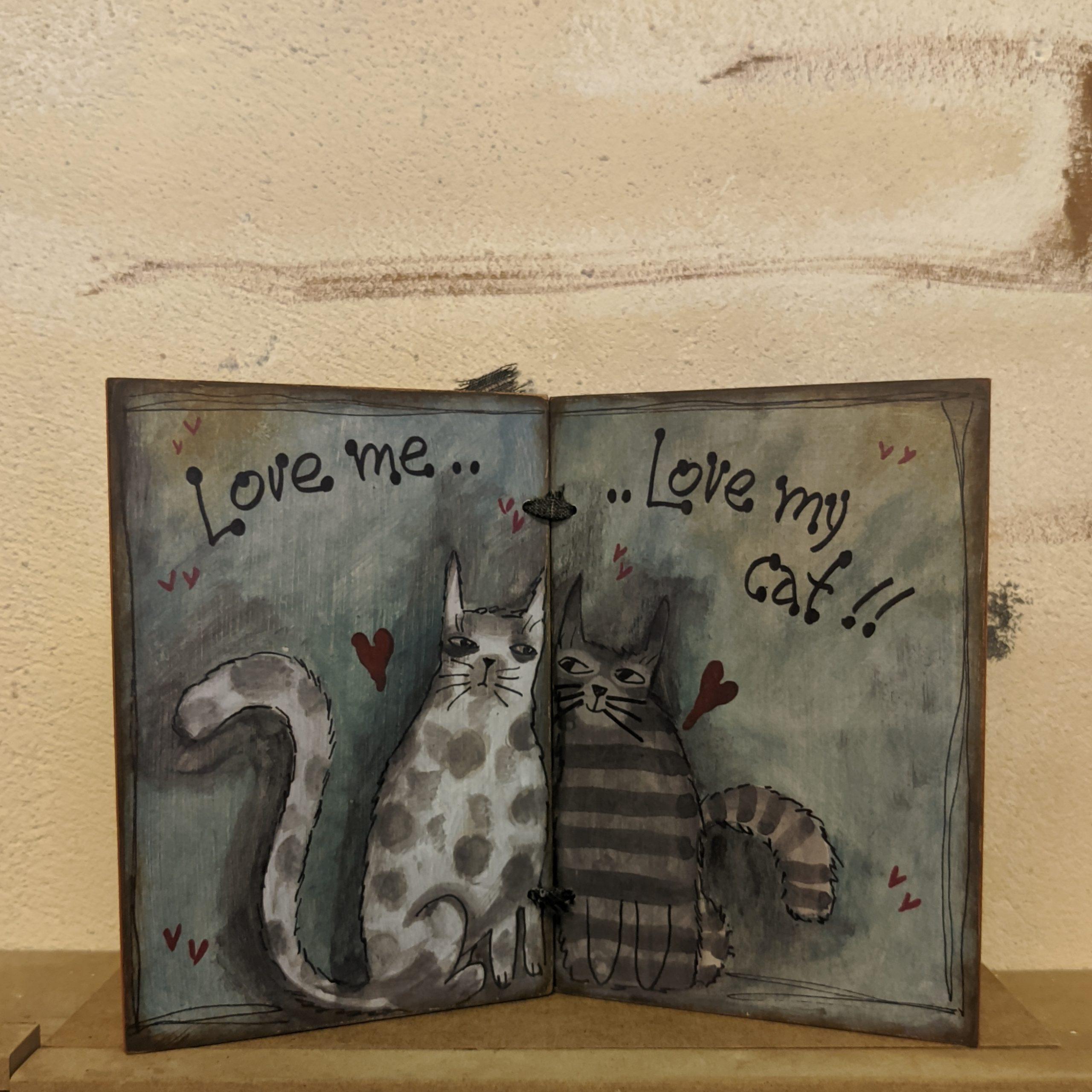 Ξύλινο Τετράδιο – Love me…Love my cat