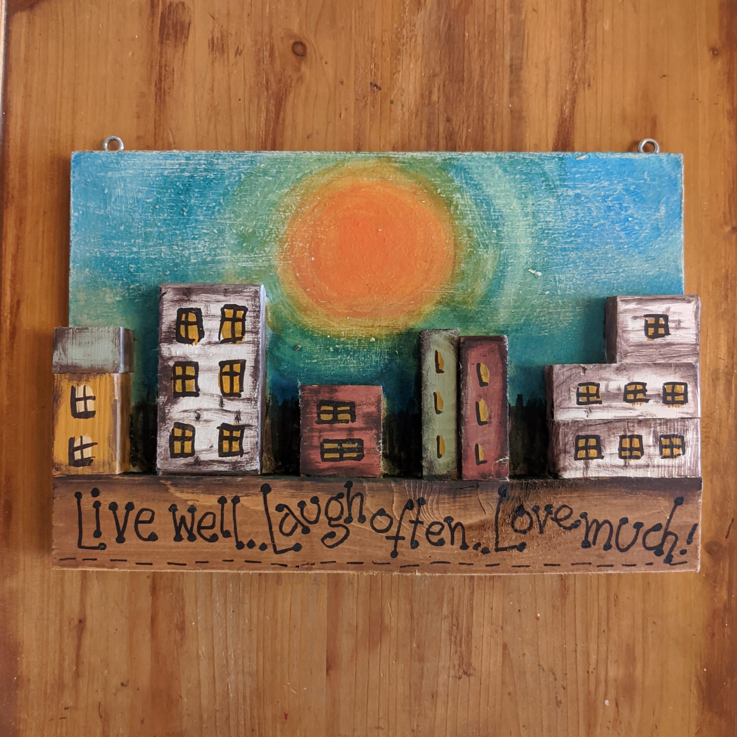 """Ξύλινος πίνακας""""sunset"""" / Wooden board """"sunset"""""""