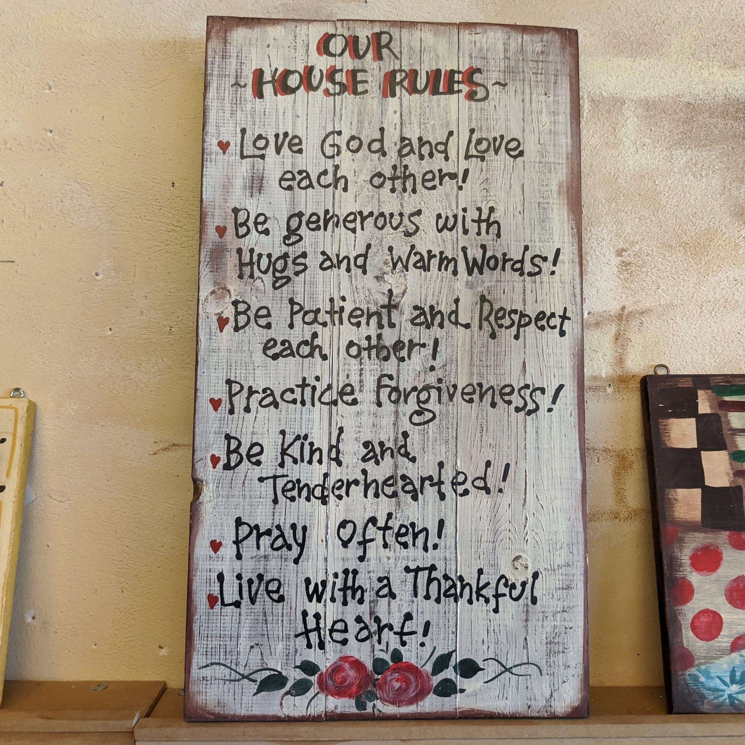 Ξύλινη πινακίδα HOUSE RULES