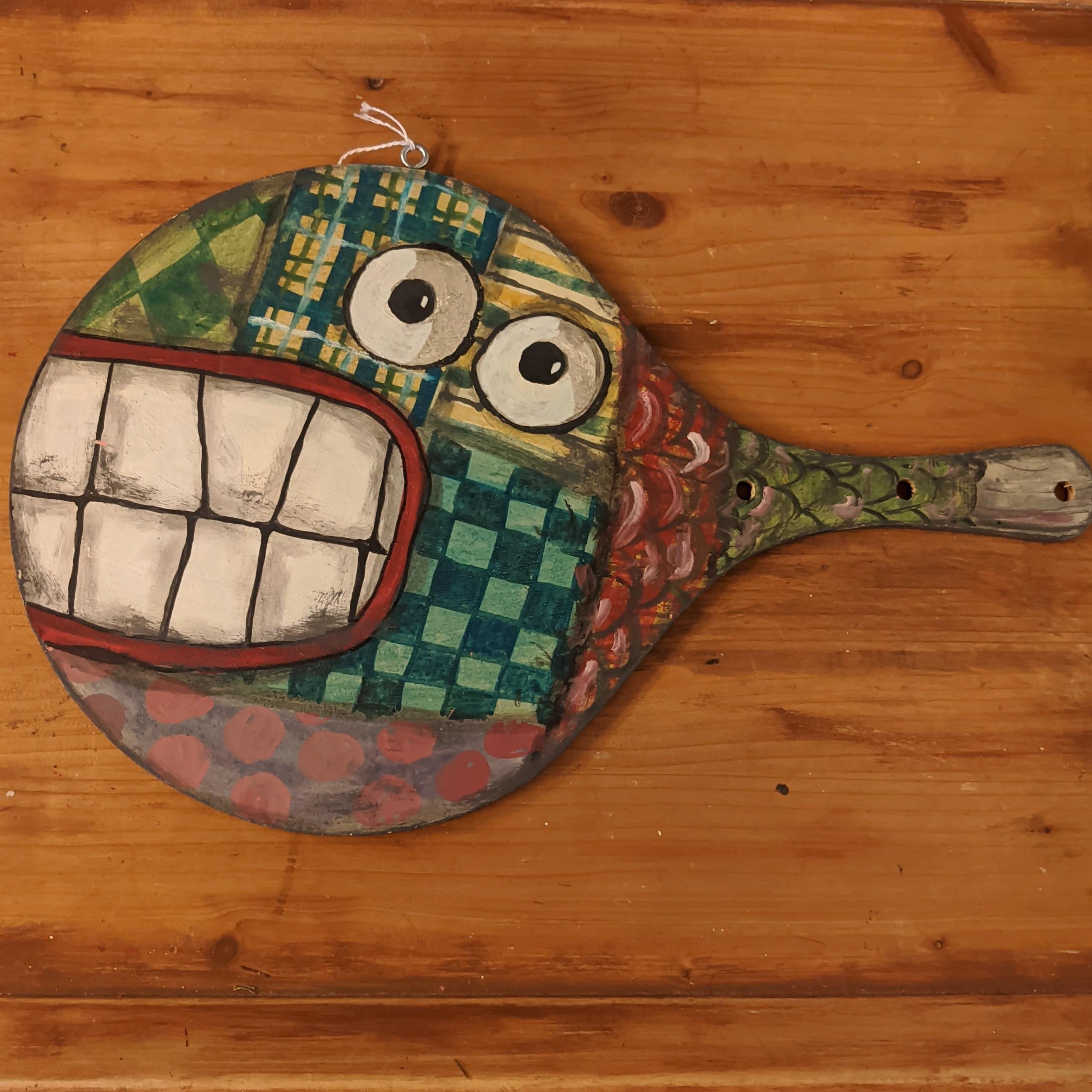 Ξύλινη ρακέτα-ψάρι  –  Hand painted wooden racket